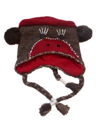 JCP Womens Brown Knit Sock Monkey Trapper Hat Fleece Lined Pom Critter Aviator