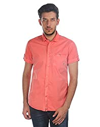 Oxemberg Men's Solid Casual 100% Cotton Coral Shirt
