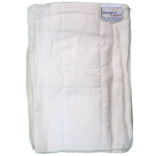 "Dandelion Diapers Unbleached 100% Certified Organic Cotton DSQ Pre-Folds, White, Size 1/Newborn/10"" x 14"""