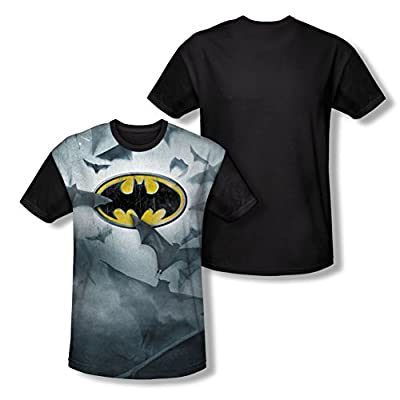 DC Batman Bat's Logo All Over Print Black Back T-Shirt