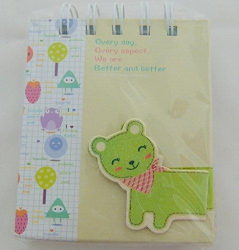 Kawaii Katze Gestanzte Schmuck Cover Design - Spiral Bound Kleine Notizbuch - grüne Katze gelb Notizbuch
