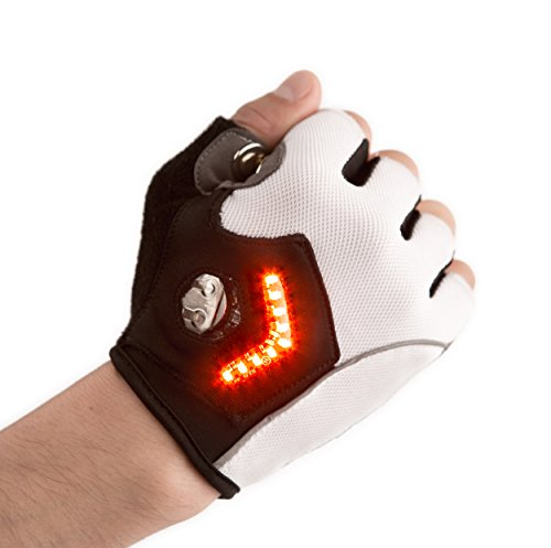 Zackees LED Turn Signal Gloves for Cycling with 4 Rechargeable Batteries + Charger