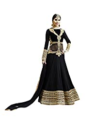 The Ethnic Chic Black Colored Pure Georgette Anarkali Suit For Women's Party Wear