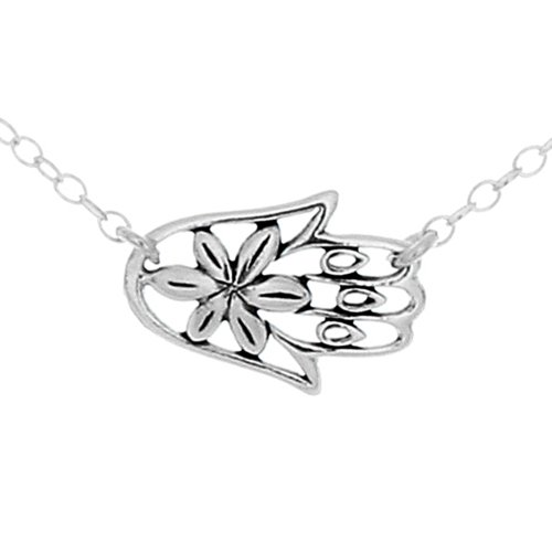 925-sterling-silver-sideways-hamsa-hand-w-flower-pendant-necklace-14-inches
