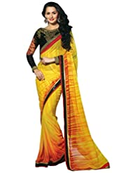 Faux Georgette Saree In Yellow Colour For Party Wear - B00VO0DPIY