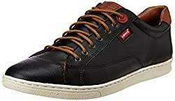 Levis Men's Tulare Low Lace Black Leather Sneakers - 7.5 UK