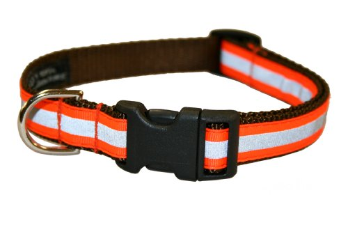 Medium Reflective Orange Dog Collar: 3/4