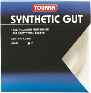 Tourna Tennis Racquet Spiral Flex String Synthetic Gut 17 Gauge,40 FT-12 M-Gold