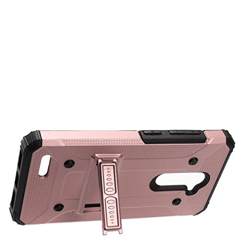 EagleCell - For ZTE ZMax Pro / Z981 (MetroPCS, T-Mobile) - Slim Hybrid Protective Hard Case with Stand - Black/Rose Gold (Zte Zmax Phone Case T Mobile compare prices)
