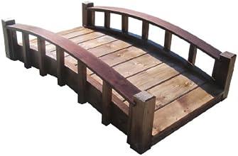 SamsGazebos Moon Bridges Japanese Style Arched Wood Garden Bridges 4-Feet Treated Brown