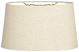 Royal Designs Shallow Oval Hardback Lamp Shade, Linen Beige, 12 x 14 x 8.5