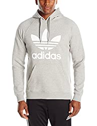 adidas Originals Men's Originals Trefoil Hoodie, Medium Grey Heather/White, Large