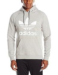 adidas Originals Men's Originals Trefoil Hoodie, Medium Grey Heather/White, Small
