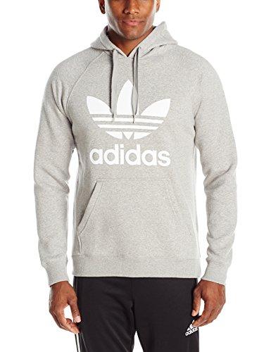 adidas Originals Men's Originals Trefoil Hoodie, Medium Grey Heather/White, Large