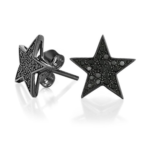 Bling Jewelry Black Star CZ Stud Mens Earrings Micropave 925 Sterling Silver 14mm