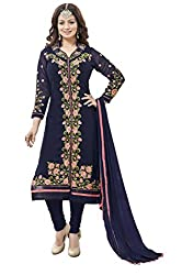Manthan Navy Blue Embroidered Un-Stitched Chudidar Suit