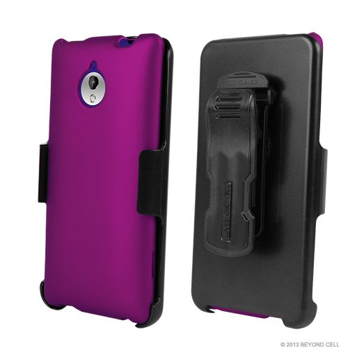 Miniturtle, 3 In 1 Slim Fit Rubber Feel 2 Piece Snap On Hard Phone Case Cover, Swiveling Holster Belt Clip, And Clear Screen Protector Film Combo Set For Windows Phone 8 Smartphone Htc 8Xt /Sprint (Purple)