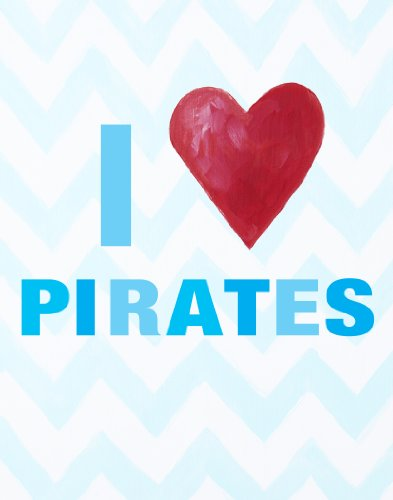 "Cici Art Factory I heart Pirates Wall Decor, Blue, 8"" x 10"""