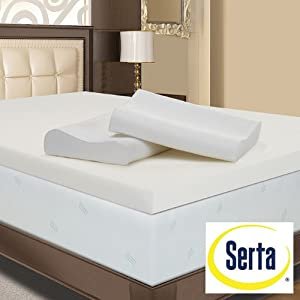 Serta 4-inch Memory Foam Mattress Topper with Contour Pillows (King)