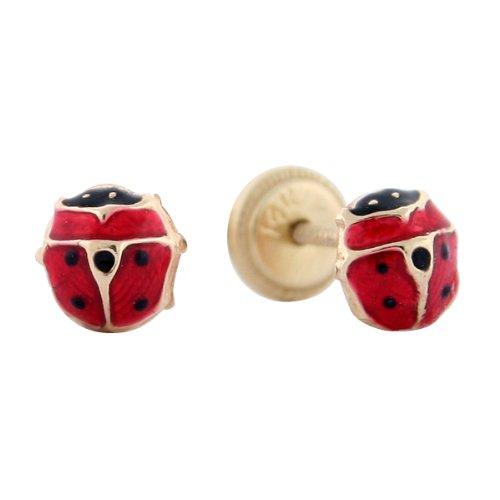 14k Yellow Gold Red Ladybug Enamel Baby Earrings