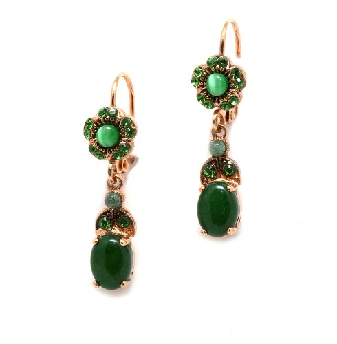 Dangle Earrings from 'Deep Forest' Collection by Amaro Jewelry Studio Set with Labradorite, Jade and Swarovski Crystals; 24K Rose Gold Plated