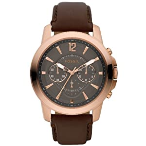 Fossil Grant Leather Watch Brown with Rose