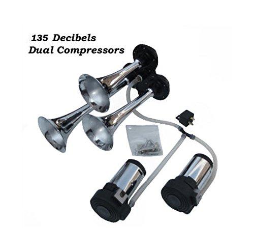 Viking Horns V301K-2C Three Trumpet Loud 139 Decibels Air Horn With Dual Air compressors