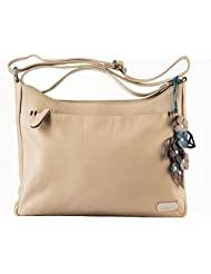 Klasse Women Genuine Leather Beige Sling Bag(Charm)