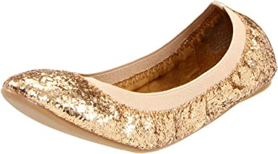 Wanted Shoes Women's Razzle Ballerina Flat,Gold,6.5 M US