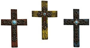 Gift Craft 12.6-Inch Polystone Wall Crosses, Medium, Red/Yellow/Blue, 3-Pack
