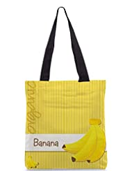 Snoogg Bright Organic Banana Card In Vector Format Designer Poly Canvas Tote Bag