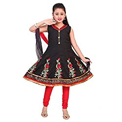 SAARAH GIRLS Cotton Salwar Suit (EMP2566, Black, 3-4 Years)