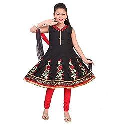 SAARAH GIRLS Cotton Salwar Suit (EMP2566, Black, 3-4 Years)
