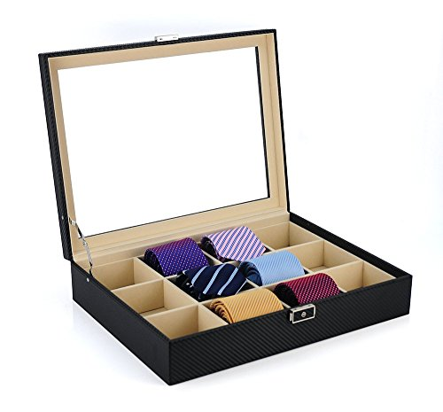 Tie Display Case for 12 Ties, Belts, and Men's Accessories Black Carbon Fiber Storage Box (Ties Storage compare prices)