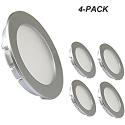Acegoo Compact LED Ceiling Light, 4 Pieces DC 12V Ultra Thin Widely Applicable to Cabinet, Ceiling, Kitchen, Closet, RV, Boat - 4000K Soft White (Silver)