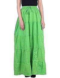MSONS Women's Ethnic Green Dobbi Long Skirt In Cotton Fabric - Free Size