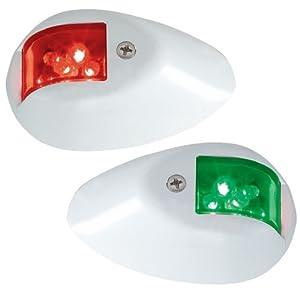 PERKO LED SIDE LIGHTS 12V RED / GREEN W/ WHITE HOUSING