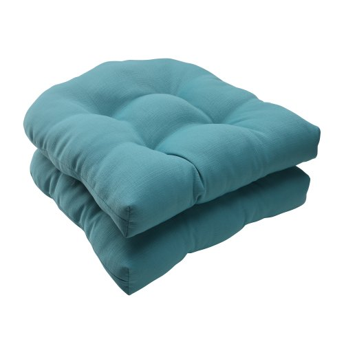 Pillow Perfect Indoor/Outdoor Forsyth Wicker Seat Cushion, Turquoise, Set of 2 image