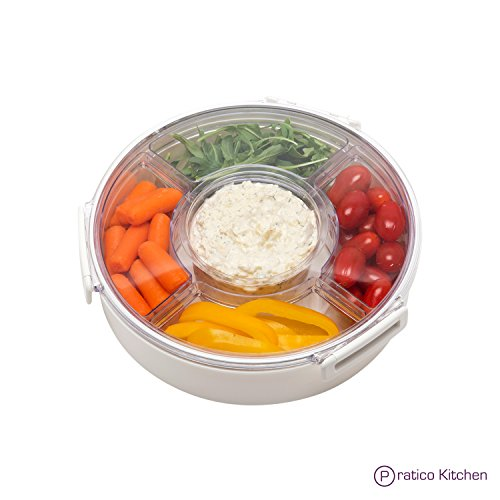 QuickSnap Round Party Platter & Appetizer Server Tray with EZ-Remove Compartments & Dip Cup - White 10.5