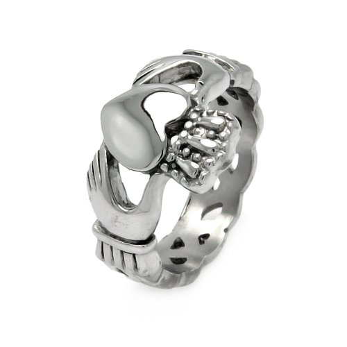 **Lead Free** Stainless Steel Celtic Knot Claddagh Wedding Ring Band For Men (Sizes 9 To 12) - Size 11