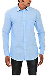 Indipulse Men's Casual Shirt (IF11600617C, Blue, XXL)
