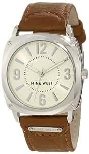 Nine West Women's NW/1323IVCM Silver-Tone Light Brown Strap Watch