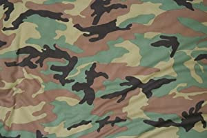 """Army Green Camouflage Fabric 60"""" Wide Military Dry Fit Camo"""