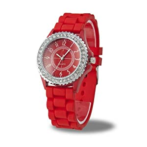 YKS Red Luxury Stylish Classic Gel Silicone Crystal Men Lady Jelly Watch