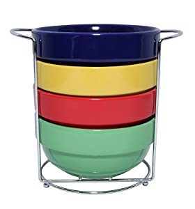 5-Piece Stackable Multi-Colored Nesting Cereal Soup Bowl Set with Chrome Rack by ChefLand