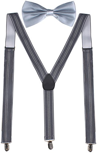 ORSKY Mens Braces Grey Suspenders and Bow Tie Set Regular - 46 inches Grey Stripe (Bow Tie Captain America compare prices)