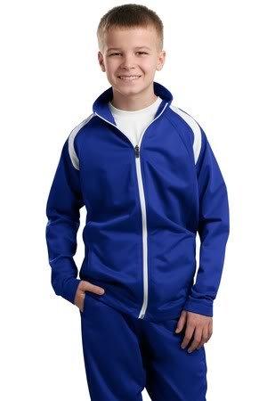 Sport-Tek Youth Tricot Track Jacket, True Royal/White, L front-376964
