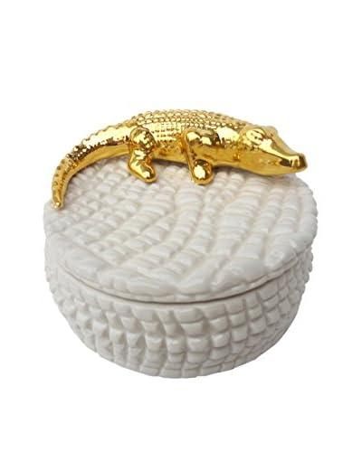 Waylande Gregory Croco Box, White/Gold