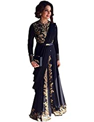 Caffoy Cloth Company Women's Black Color Georgette Designer Embroidered Bollywood Replica Party Wear Anarkali...