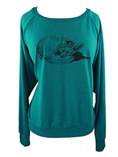 YogaColors Black Heart Tri-Blend Light Weight Raglan Pullover (Small, Evergreen Fox)